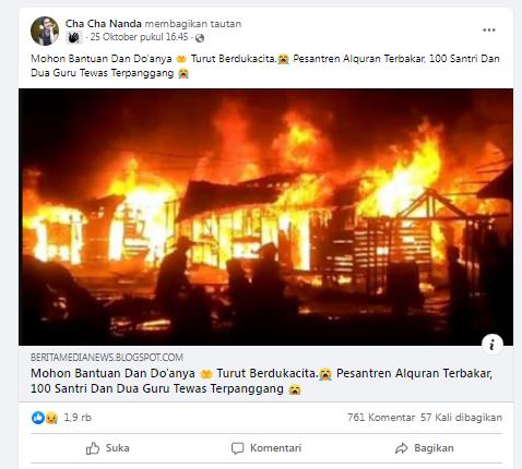 [Cek Fakta] Foto Pesantren Alquran Terbakar, 100 Santri dan Dua Guru Tewas Terpanggang? Ini Faktanya