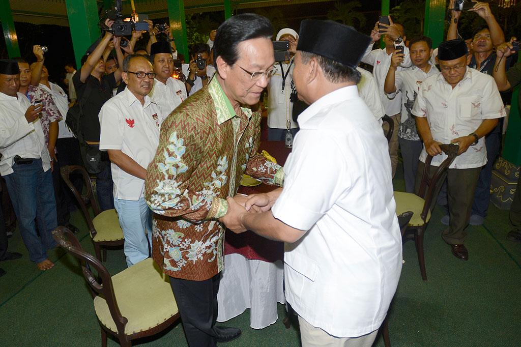 Hasil gambar untuk Prabowo dan sultan HB X
