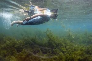 Wisatawan menyelam di mata air Cisaladah, Cikalongwetan, Kabupaten Bandung Barat, Jawa Barat.