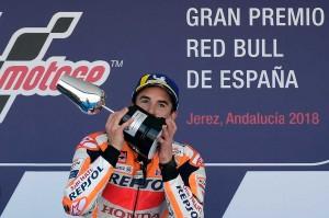 Marquez menjadi yang tercepat di sirkuit Jerez dengan catatan waktu 41 menit 39,678 detik, disusul Johann Zarco dan Andrea Iannone. Kemenangan tersebut menjadi kedua beruntun bagi Marquez setelah dua pekan lalu juga menjadi juara di Moto-GP AS.