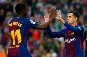 Pemain termahal Barca Philippe Coutinho membawa tuan rumah memimpin pada menit ke-11, menyambar bola pantul yang dilepaskan pemain asal Prancis Ousmane Dembele.
