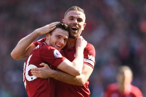 Andrew Robertson menutup pesta gol The Reds di sisa waktu normal lima menit.