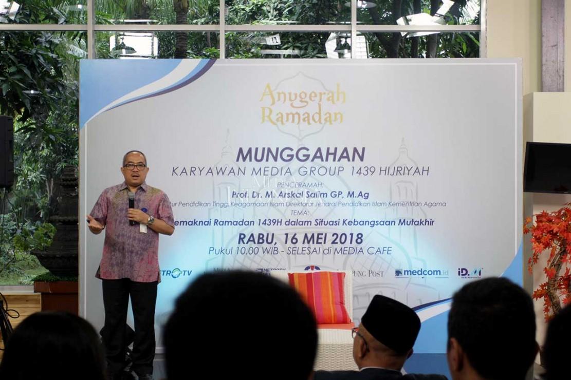 Dalam sambutannya, Presiden Direktur Metro TV Suryopratomo menyatakan bahwaRamadan 1439 Hijriah tak seperti bulan suci di tahun-tahun sebelumnya. Teror bom beberapa kali terjadi di Surabaya, Jawa Timur, dan daerah lainnya. Mas Tomy, begitu Suryopratomo disapa menyebut peristiwa ini harus membuat publik berkaca diri.