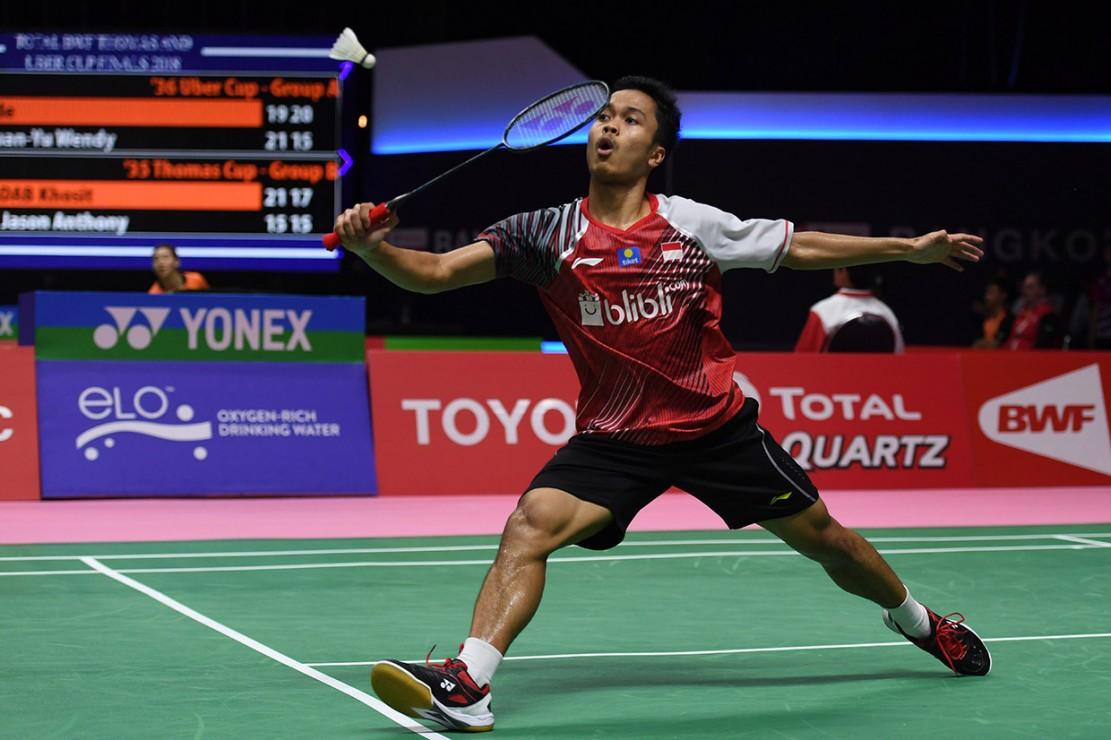 Indonesia membuka laga pertandingan dengan kekalahan. Pebulutangkis tunggal putra Anthony Ginting gagal memberikan poin pertama bagi Indonesia setelah kalah dari tunggal putra Korea Selatan Son Wan-ho 20-22 dan 20-22.