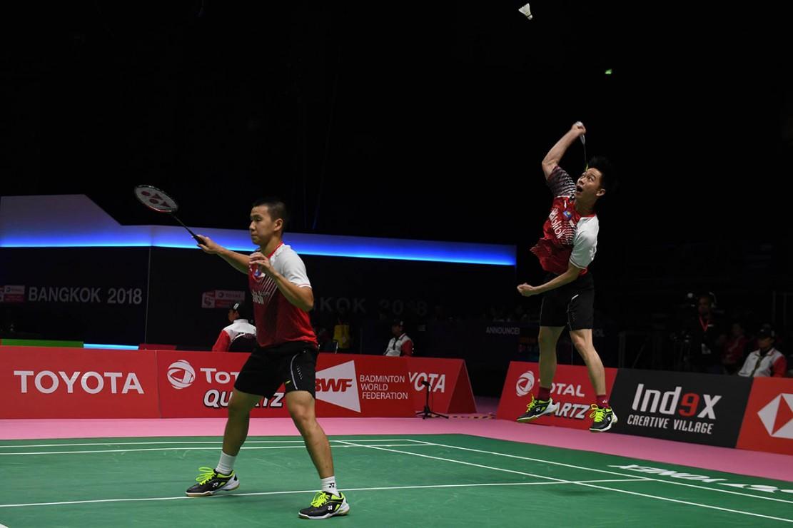 Skuat Merah Putih menyamakan kedudukan melalui ganda putra Kevin Sanjaya Sukamuljo/Marcus Fernaldi Gideon yang mengalahkan Chung Eui Seok/Kim Won Ho 21-11 14-21 21-10.