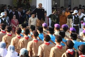 Presiden Joko Widodo memimpin upacara Hari Lahir Pancasila di halaman Gedung Pancasila Kementerian luar Negeri, Jakarta.