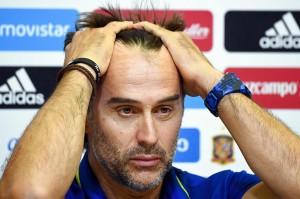 Presiden Federasi Sepak Bola Spanyol (RFEF), Luis Rubiales, mengumumkan secara resmi pemecatan Julen Lopetegui dari kursi pelatih timnas Spanyol. Afp Photo/Gabriel Bouys
