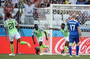 Musa melakukan selebrasi usai menjebol gawang Islandia yang dikawal Hannes Halldorsson.