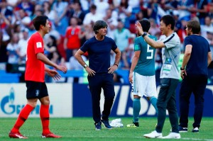 Sementara pelatih Jerman Joachim Loew seakan tidak percaya timnya tersingkir pada putaran pertama untuk pertama kalinya dalam 80 tahun terakhir.