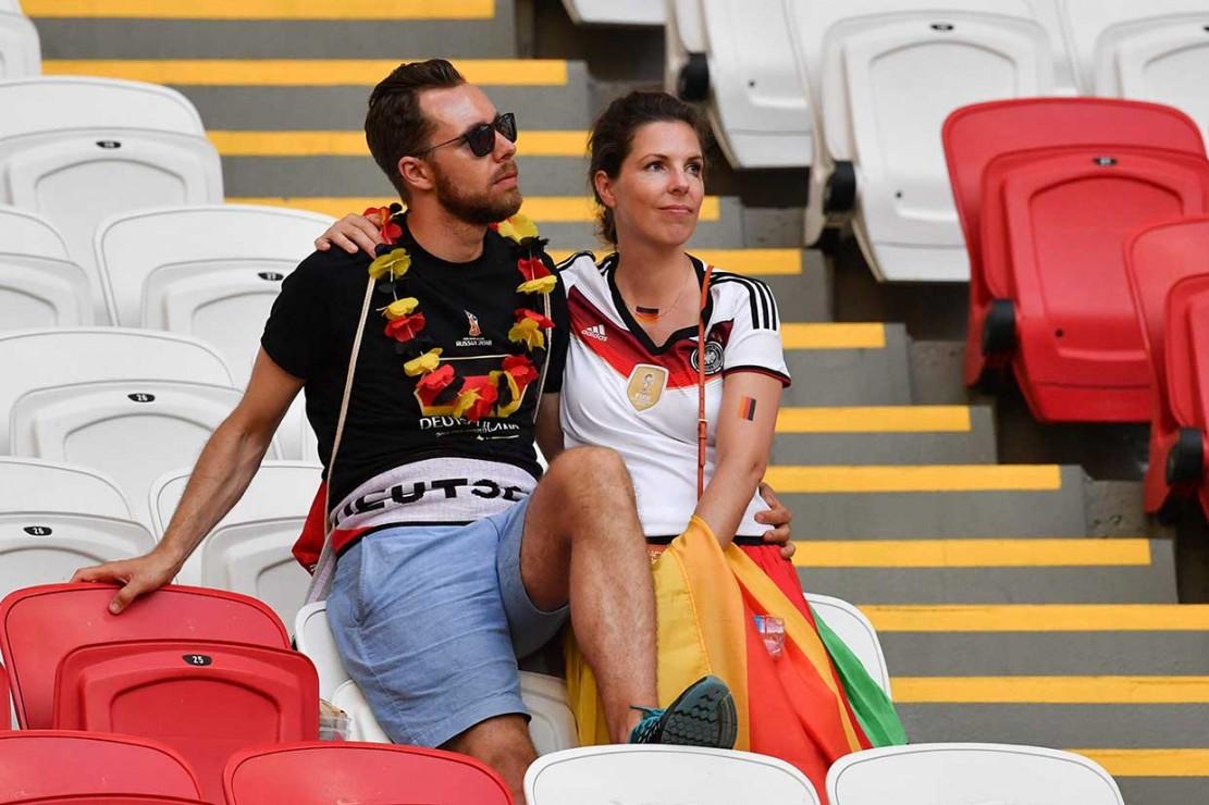 Para penonton Jerman juga terpaku atas hasil yang dicapai tim kesayangan mereka.