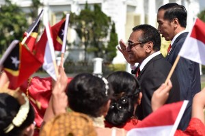 Presiden Jokowi menerima kunjungan kenegaraan Presiden Republik Demokratik Timor-Leste Francisco Guterres Lú Olo di Istana Kepresidenan Bogor. Rombongan Kepresidenan RDTL tiba pada pukul 10.00 WIB.
