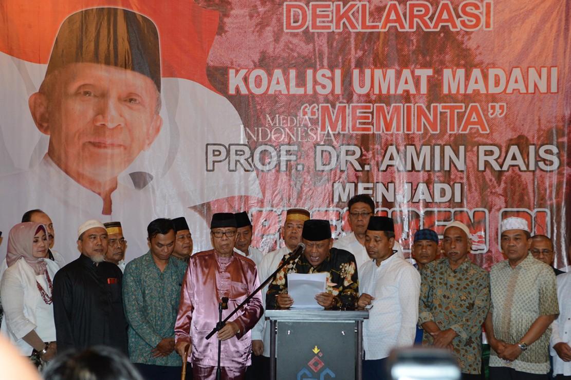 Koalisi Umat Madani (KUM) mewacanakan Amien Rais dengan Prabowo Subianto untuk maju sebagai capres dan cawapres periode 2019-2024.