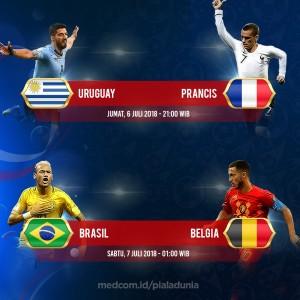 Jadwal Lengkap Pertandingan Perempat Final Piala Dunia 2018