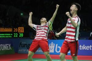 Dengan hasil ini, Kevin/Marcus menjadi wakil ganda putra pertama Indonesia yang melaju ke babak semifinal Indonesia Open.