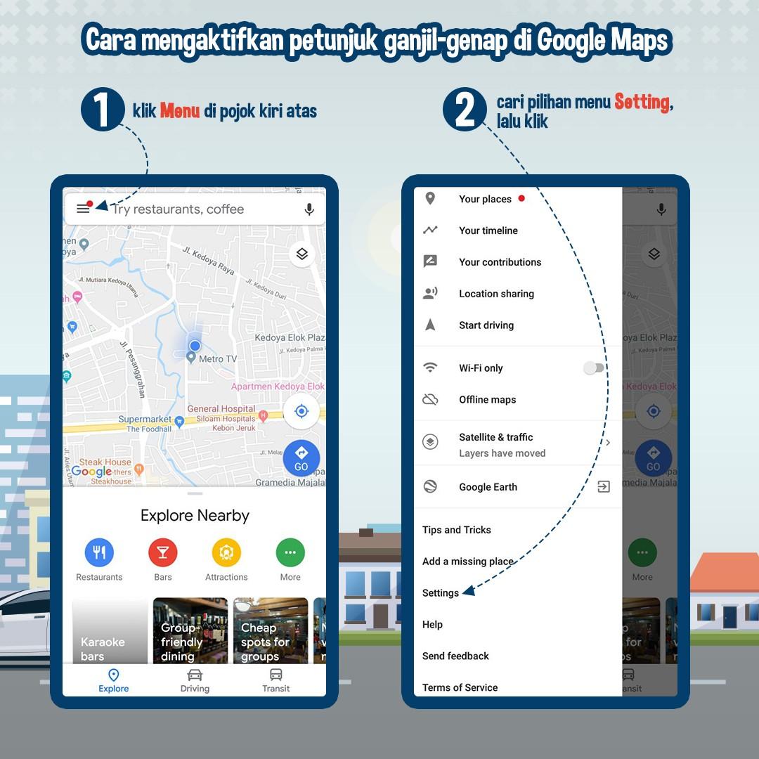 Cara Mengaktifkan Petunjuk Ganjil-Genap di Google Maps