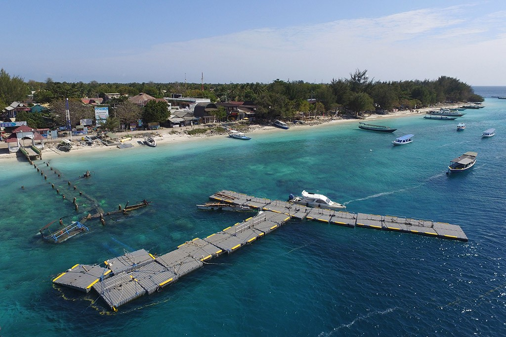 Foto areal kondisi Gili Trawangan, Lombok Utara, NTB.