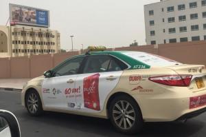 Bila Anda sedang berkunjung atau jalan-jalan ke Dubai, Uni Emirat Arab, jangan kaget bila Anda mendapati logo Asian Games Ke-18 di di bagian samping sejumlah taxi yang beroperasi di Dubai dan Emirat sekitarnya.