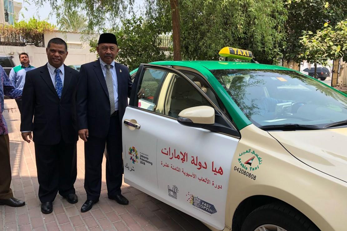 APP didukung oleh KBRI Abu Dhabi dan KJRI Dubai telah secara resmi meluncurkan proyek kerja sama APP Asian Games Taxi Branding di kantor KJRI Dubai pada Selasa (14/8/2018).