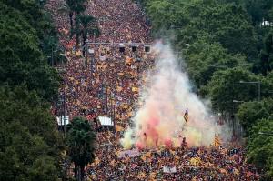Sejak tahun 2012, tanggal 11 September yang disebut sebagai 'Diada' ini dimanfaatkan untuk menggelar unjuk rasa besar-besaran menyerukan pemisahan diri dari Spanyol. Afp Photo/Josep Lago