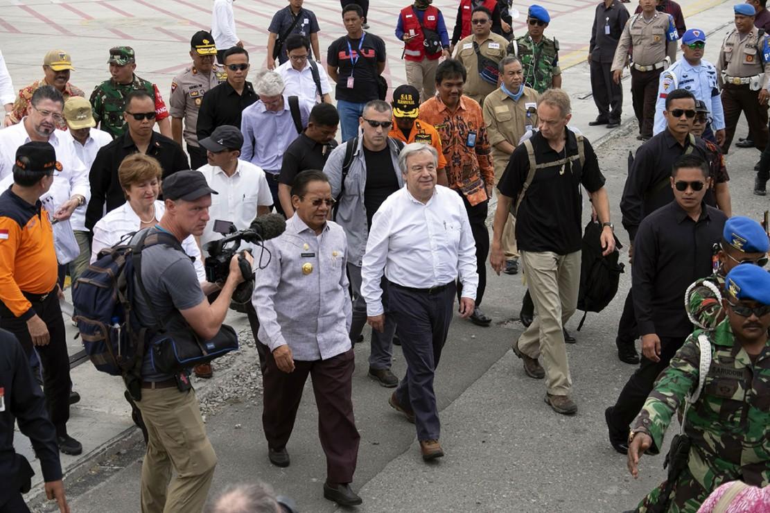 Sekjen PBB Kunjungi Korban Gempa