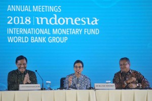Sementara Kenkeu Sri Mulyani mengucapkan terimakasih kepada pihak-pihak yang sudah bekerja keras untuk menyukseskan acara karena tidak ada satupun keluhan yang diberikan para delegasi yang mengikuti keseluruhan perhelatan sejak 8 Oktober 2018. Ia juga menyampaikan apresiasi kepada delegasi IMF maupun Bank Dunia atas dukungan yang diberikan ketika Indonesia mengalami bencana alam karena dapat menjadi penyemangat untuk kembali membangun kehidupan di kawasan terdampak.  Antara Foto/Fikri Yusuf