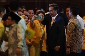 HUT ke-54 Partai Golkar dihadiri ribuan kader partai dan pimpinan partai koalisi Indonesia Kerja.