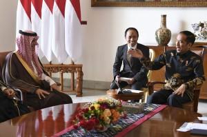 Dalam sambutan, Jokowi menyampaikan terima kasih kepada pemerintah Arab Saudi yang telah menyalurkan bantuan untuk korban bencana Lombok dan Sulawesi Tengah.