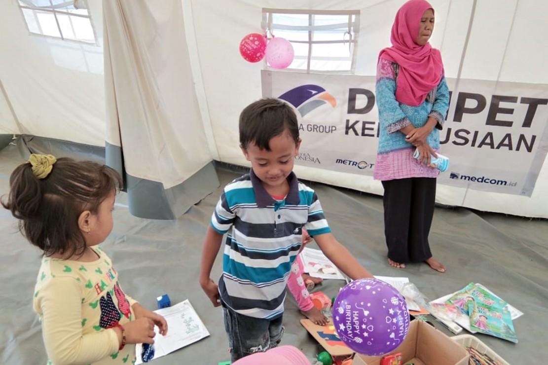 Yayasan Media Group Buka Sekolah Darurat bagi Korban Gempa