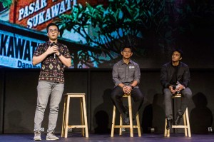 Co-Founder dan CEO situs Qlapa.com Benby Fajarai (kiri), Ketua Inapgoc Raja Sapta Oktohari (tengah), dan perenang Garin Nathaniel menjadi pembicara dalam diskusi forum pemuda 2018.
