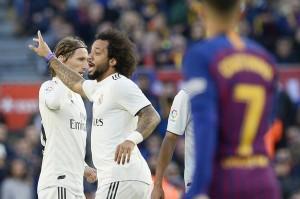 Adapun satu-satunya gol Real Madrid diciptakan oleh Marcelo pada menit ke-50. Afp Photo/Josep Lago
