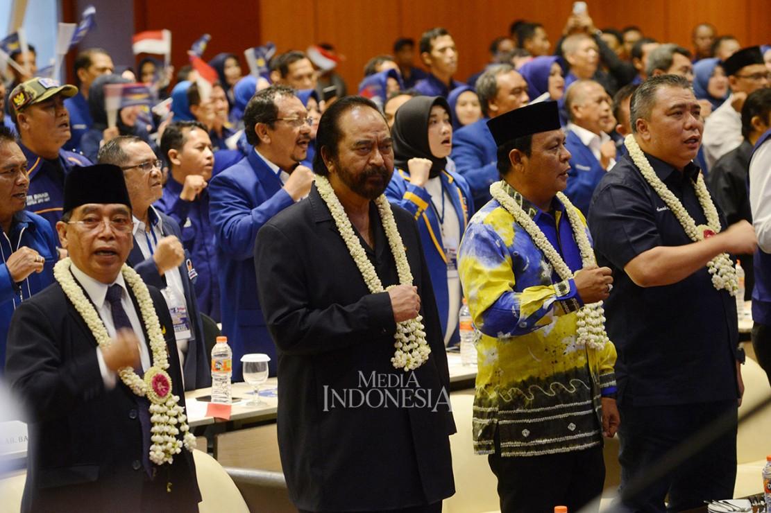 Surya Paloh Hadiri Apel Siaga Pemenangan NasDem di Banjarmasin