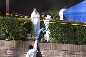 Polisi melakukan penyelidikan di lokasi penembakan massal di Borderline Bar and Grill di Kota Thousand Oaks, di daerah perumahan yang tenang dan mewah di Los Angeles, Kamis, 8 November waktu setempat.