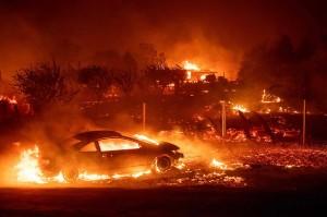 Besarnya api ditambah tiupan angin membuat kebakaran menjalar ke permukiman warga.