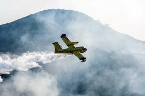 Petugas juga mengerahkan pesawat pembom air untuk memadamkan kebakaran.