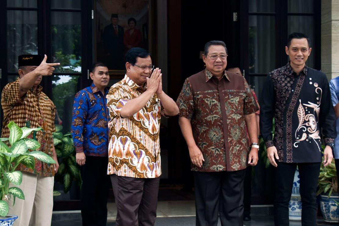 Prabowo tiba di kediaman SBY pada Jumat pukul 15.00 WIB, untuk membahas strategi menghadapi Pilpres 2019.