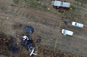 Kondisi helikopter dinaiki Gubernur Martha Erika Alonso dan Senator Meksiko Rafael Moreno saat jatuh.