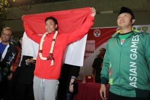 Atlet Indonesia Lalu Muhammad Zohri tiba di Bandara Internasional Soekarno Hatta, Tangerang, Banten, Selasa, 17 Juli. Beberapa hari sebelumnya atlet asal Lombok itu memecahkan rekor dunia lari 100 meter yunior putra setelah menjuarai Kejuaraan Dunia IAAF U-20 2018 di Finlandia. MI/Pius Erlangga