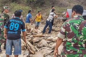 Anggota TNI dan Polri memindahkan badan rusa yang sudah mati dan dipotong-potong hasil perburuan ilegal di Pantai So Toro Wamba, Desa Poja, Kecamatan Sape, Kabupaten Bima, NTB, Sabtu, 29 Desember 2018.
