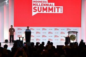 Wakil Presiden Jusuf Kalla memberikan pengarahan dalam pembukaan Indonesia Millennial Summit 2019 di Jakarta.