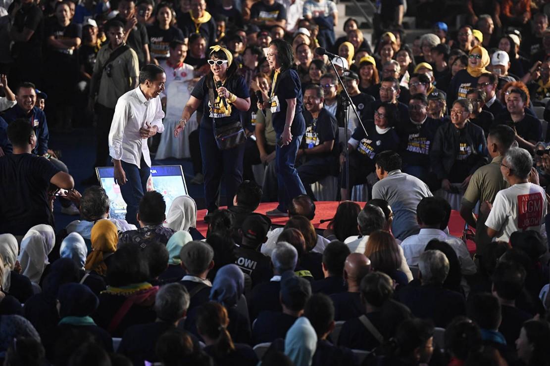 Calon Presiden nomor urut 01 Joko Widodo menghadiri Deklarasi Alumni Trisakti Pendukung Jokowi di Jakarta. Antara Foto/Puspa Perwitasari
