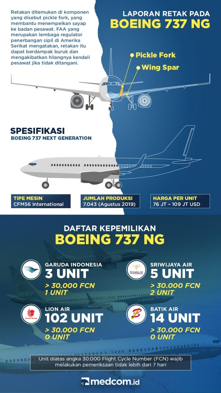 Laporan Retak Pada Boeing 737 NG