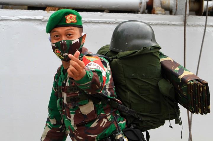Kepulangan 450 Satgas Pamtas RI-Malaysia