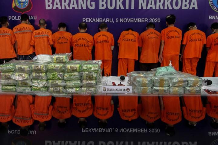 Polda Riau Musnahkan 122,38 Kg Sabu