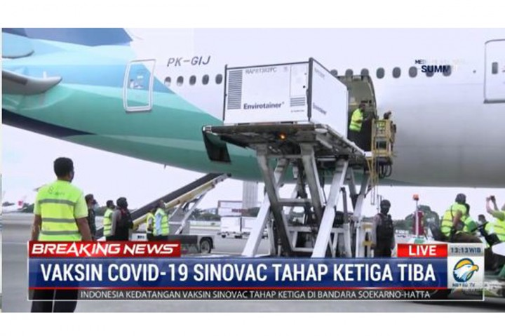 Detik-detik Kedatangan Vaksin Sinovac Tahap 3 di Indonesia