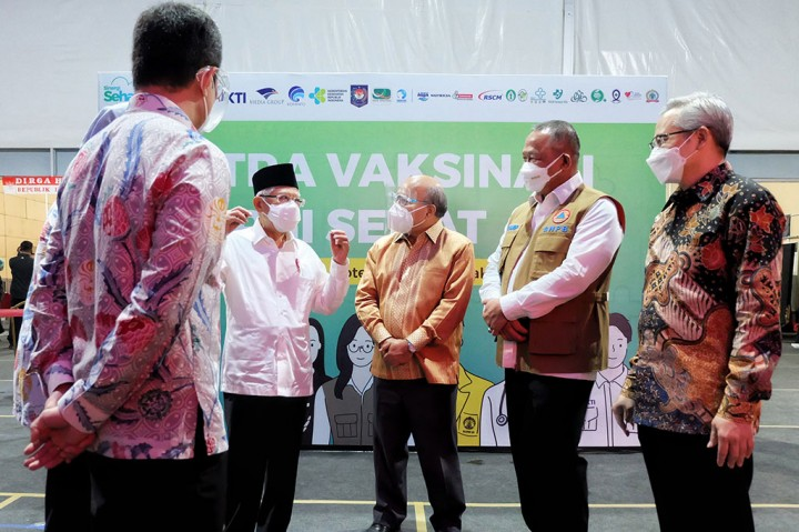 Wapres Tinjau Sentra Vaksinasi Sinergi Sehat Jakarta