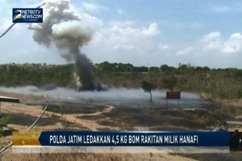 Polda Jatim Ledakkan 4,5 Kg Bom Rakitan Milik Hanafi