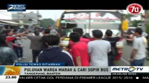 Polisi Tewas Tertabrak Bus, Puluhan Warga Cari Pelaku