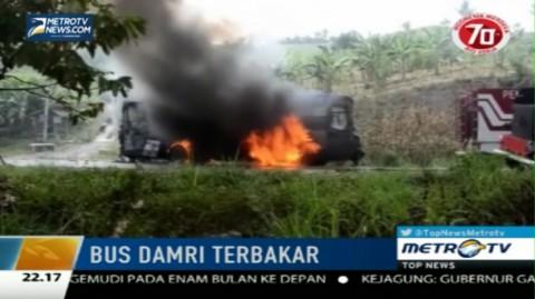 Bus Damri Mendadak Terbakar di Bakauheni