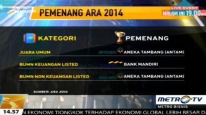 Antam Raih Predikat Juara Umum ARA 2014