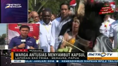 Kedatangan Jokowi di Merauke Disambut Tarian Adat